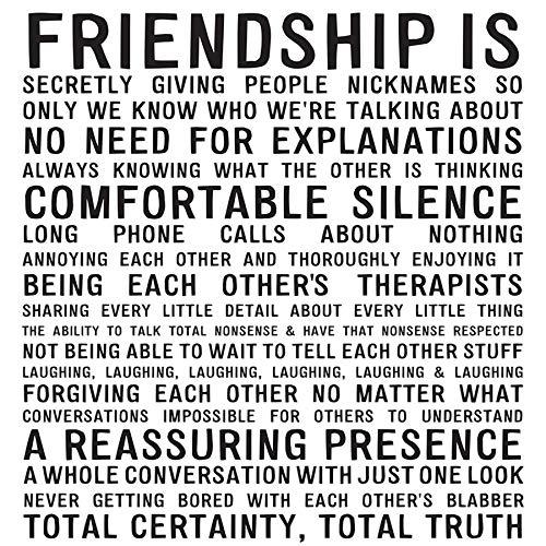 Janine's Leinwandbild, Motiv 906 Friendship is Funny Spruch, 15,2 x 15,2 cm, fertig zum Aufhängen