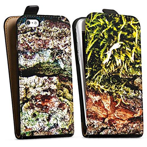 Apple iPhone X Silikon Hülle Case Schutzhülle Rinde Holz moos Downflip Tasche schwarz