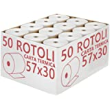 Confezione 50 Rotoli Termici mm 57x30 mt Omologati per Registratore di Cassa Carta Termica 1^ Qualità
