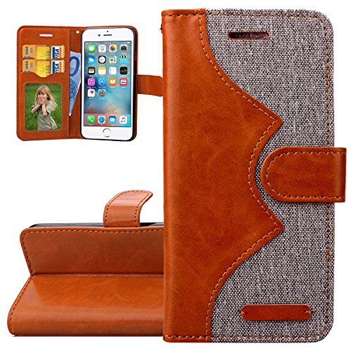 Custodia iPhone 6S, ISAKEN Custodia iPhone 6, iPhone 6 Flip Cover in Color, Elegante Fiori Pattern Design Custodia PU Pelle Protettiva Portafoglio Case Cover per Apple iPhone 6 4.7 / con Supporto di  Brown+grey