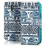 Saxonia Tasche Samsung Galaxy S4 Mini Hülle Flip Case Schutzhülle Handytasche mit Kartenfach Motiv Elefant