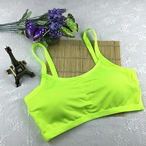 Soutien-Gorge de sport Longra Femmes Yoga Débardeur d'entraînement extensible Seamless Racerback Rembourré Vert