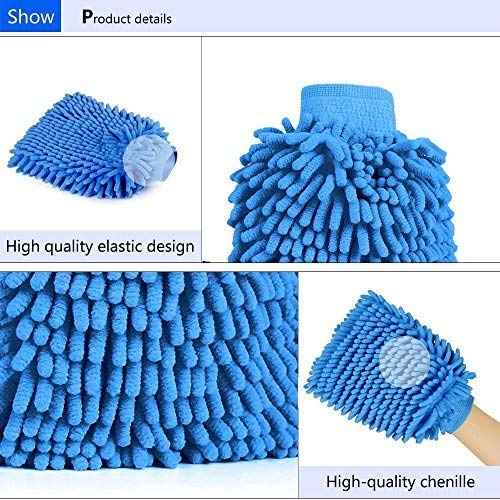 Gadget Zone UK Microfiber CAR WASH Washing Shampoo Cleaning MITT Glove POLISHING Cloth Duster.for Vehicles Automotive Cleaning Alloy Wheels Cars Motorcycle Window Auto Cleaner. 100% Satisfaction