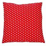 Sugarapple Kinder Kissenbezug 40cm x 40cm mit Reißverschluss, Kissen Bezug aus 100% Öko-Tex Standard 100 Baumwolle, ideal als Bezug für Dekokissen, Sitzkissen oder Kopfkissen, Punkte fliegenpilz