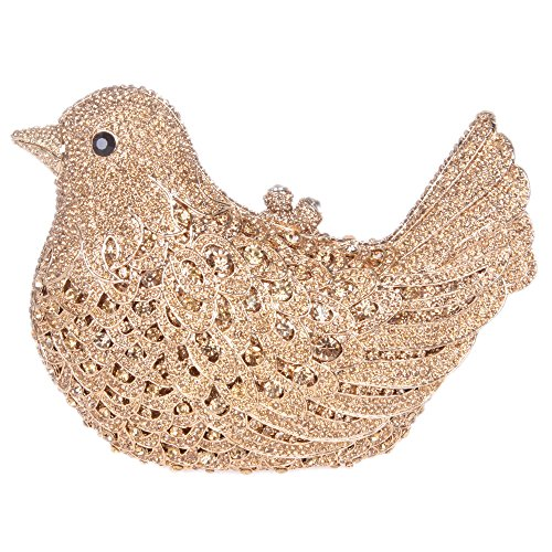 Bonjanvye Glitter Rhinestone Bird Clutch Purses Evening Clutch Bag for Girls Orange smoky yellow