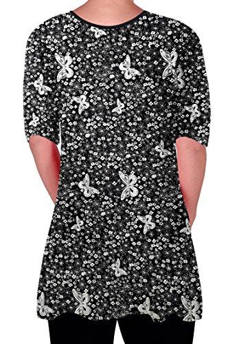 Eyecatch - Aspen Femmes Imprimé Chemisier Décontractée col en V Tunique dames Plus Size Flared chemisiers longue Noir