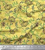 Soimoi Gelb Seide Stoff Blätter & Blumen kunstlerisch