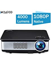 WZATCO W02 Projector- 1080P Full HD Projector 150 Big Screen 4000 Lumens Compatible with TV Box ,PC,
