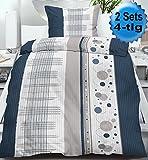 4-tlg. Seersucker Bettwäsche 2x 135x200 +80x80cm, blau grau weiss Punkte Streifen, bügelfrei, Microfaser (60430)