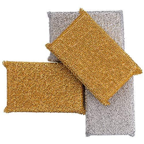 C-lean House Profi Glänzerkissen speziell für hartnäckige Verschmutzungen - Im praktischen 4er Set - Lurex Putz Schwamm erleichtert Ihnen die Reinigung (Reinigung Topf)