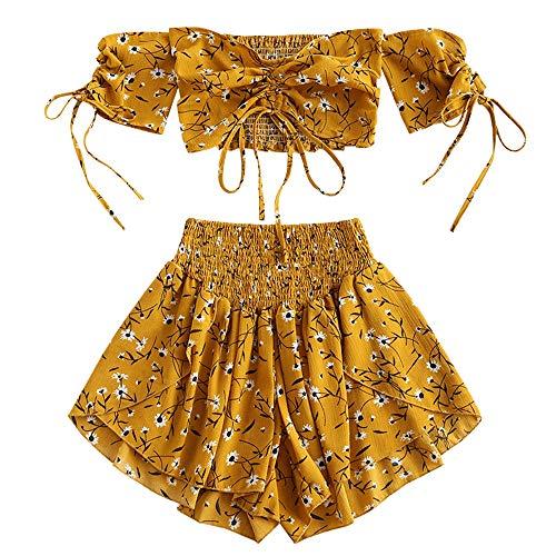 ZAFUL Damen Floral Schulterfrei Smocked Shorts Set Blume Cinched Top Suit Goldbraun M