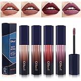 Xiangmall 4 colores Kit Pintalabios Líquido Mate Lápiz Labial Larga Duración Pintalabios Impermeable Hidratante Maquillaje Re