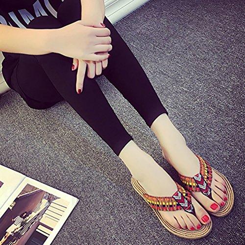 YOUJIA Tongs Chaussons Plates Femmes Tongs Chaussures De Clip Toe Sandale De Plage Rouge
