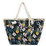 Grande borsa da spiaggia idrorepellente con cerniera Borsa a tracolla Shopper Fiori e ananas