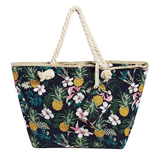 fafb704896dea Große Strandtasche wasserabweisend mit Reißverschluss Blumen und Ananas