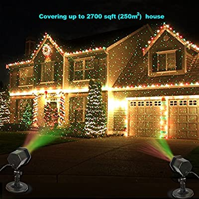 Christmas Projector lights Outdoor, InnooLight Red and Green Garden Starry Lights Show, Outdoor Christmas Spot Lights Outdoor with RF Remote for Christmas, Halloween, Holiday Decoration