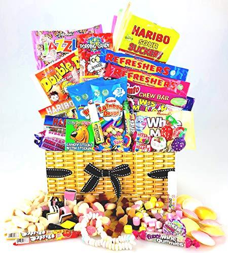 Geschenkkorb mit Süßigkeiten Retro-Design Weiden-Effekt mit Schleife Tolles Geschenk (Bubble Kids Halskette)