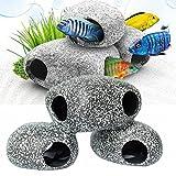 1 Pezzo Pesce d'acquario Peschereccio Decorazione Pesce Ornamento nascondiglio Pesce Allevamento Grotta foro Dimensione di pietra M
