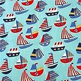0,5m Patchwork-Stoff Boote blau 1,1m breit Meterware