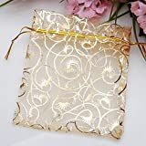 Générique Amazing belle organza pochettes bijoux cadeau Candy Chocorate sac pour noces favor Golden (Pack de 100 pièces)