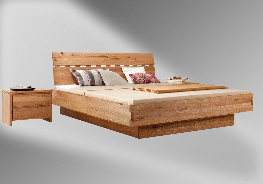 Bettgestell 180x200 holz  Amazon.de: Massivholzbett MAX - exclusives Designerbett, Wildeiche ...