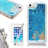 iPhone SE Liquid Case,iPhone 5S Glitter Bling Cover,We Love Case Flowing Floating Water Liquid Swimming Plastic Case Clear Hard Shell 3D Creative Design Blue Star Pattern Luxury Sparkly Crystal Back Cover Protective Skin Cell Phone Cases For Apple iPhone 5 5S SE + 1x Animal Dust Plug + 1 x Touch Screen Stylus + 1 x Free Screen Protector