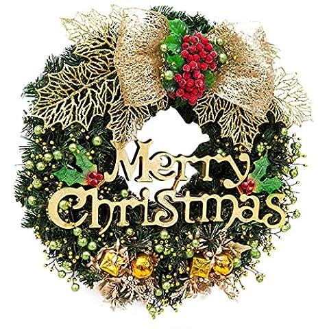 Upxiang 30cm Weihnachten große Kranz Tür Wand Verzierung, rote Bowknot Blumengirlande Dekoration, Weihnachtsdeko Weihnachtskranz Adventskranz, Türkranz Kranz mit Kugeln, Weihnachten Saison Dekor (C)