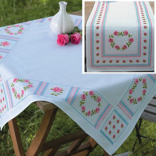vorgedruckt Kreuzstich Stickerei Tischdecke und Läufer Kit: Pink Rose Herzen