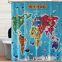 SUN-Mapa de animales de la decoración del mundo Decoración de poliéster Cortina de ducha de baño para niños y niños , 180*200cm
