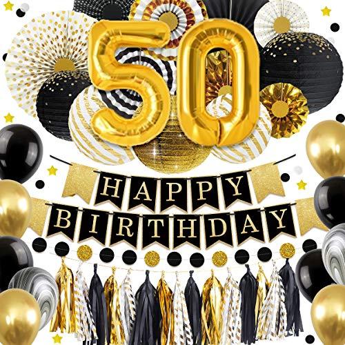 NICROLANDEE 50 Geburtstag Dekorationen Ballon Banner - Glitter Happy Birthday Banner schwarz und Gold Papier Laterne Papier Fan Papier Tissue Quaste für Geburtstag Jubiläum Dekor Party Supplies (50) (Und Schwarz-mittelstücke Gold)