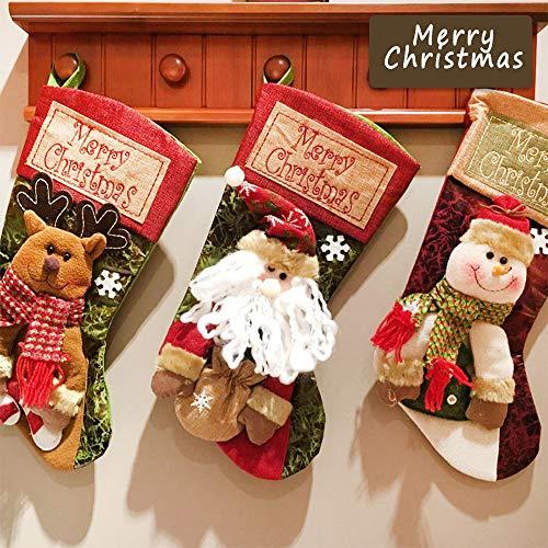 Sinicyder Set 3 Pezzi Calze di Natale Decorazioni con Babbo Natale Pupazzo di Neve e...