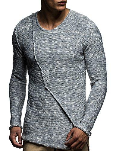 LEIF NELSON Herren Pullover Strickpullover Hoodie Basic Rundhals Crew Neck Sweatshirt langarm Sweater Feinstrick LN20710 Grau