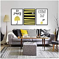 MFMing Nordic Golden Black Stripes Canvas Print Painting Poster Umbrella Wall Pictures For Living Room Posters Prints Decor-30x40cmx3p no frame