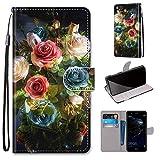 Miagon Flip PU Leder Schutzhülle für Huawei P10 Lite,Bunt Muster Hülle Brieftasche Case Cover Ständer mit Kartenfächer Trageschlaufe,Blühen Blume