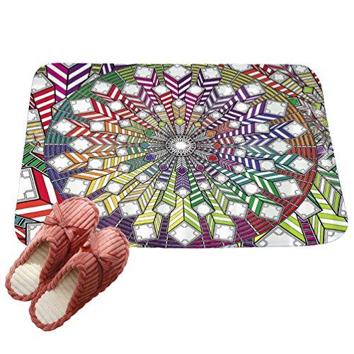 LvRaoo Fußabtreter Mandala Blumendruck Rutschfest Sauberlaufmatte Fußabstreifer Teppiche Läufer für Außen und Innen (# 12, 80 * 50cm)