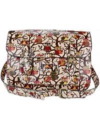 Miss Lulu Bolso bandolera rígido, estilo vintage, ideal para el trabajo o la escuela, color multicolor, talla M