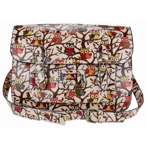 Miss Lulu ,  Mädchen Damen Tornistertasche , mehrfarbig - Owl Pink - Größe: Medium