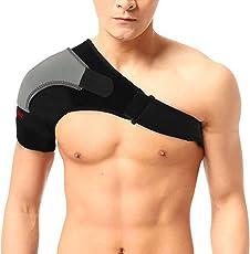 YogPro Neoprene Adjustable Orthopedic Right Shoulder Support (Free Size, Black)