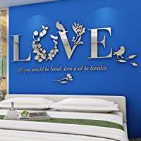 3D LOVE Miroir Stickers Autocollants Muraux Fleurs pour Décoration de la Maison Stickers Muraux Autocollant Mural pour…