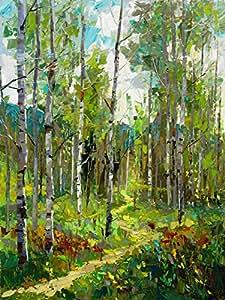 Peint à la main, 100%  en poids de peinture à l'huile sur toile Motif Spring Jubilee avec sillon peinture à l'huile