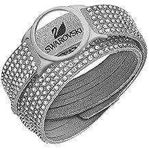 Swarovski 5225820 Slace Aktivity - Pulsera de mujer, cristal, acero inoxidable, tela, 36 cm, color blanco