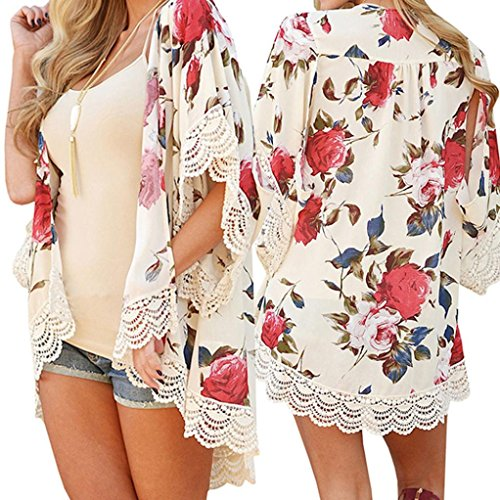 Cardigan Plus Size Tops, Frau Ärmellos Hemden Bluse Tank Tops Langarm-Shirt Sexy Blumendruck (XL, Beige) (Pablos Escobar Kostüm)