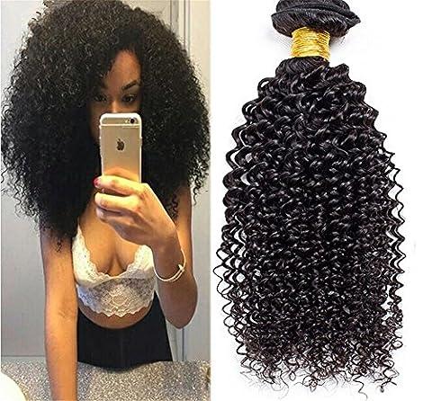Meylee Perruque brune brésilienne perruque bouclée Cheveux 3 paquets ondulée Wave 100g Sans objet naturel Couleur 100% Cheveux humains Extensions , 8 10 12