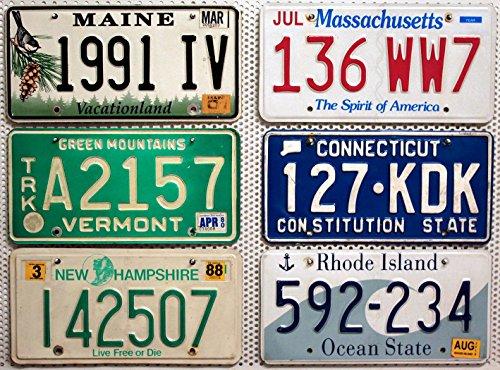 Preisvergleich Produktbild 6 USA Nummernschilder als SET mit den Kennzeichen der New England US-Staaten : CONNECTICUT ~ NEW HAMPSHIRE ~ MAINE ~ MASSACHUSETTS ~ RHODE ISLAND ~ VERMONT # Blechschilder / KFZ Schilder / License Plates Lot