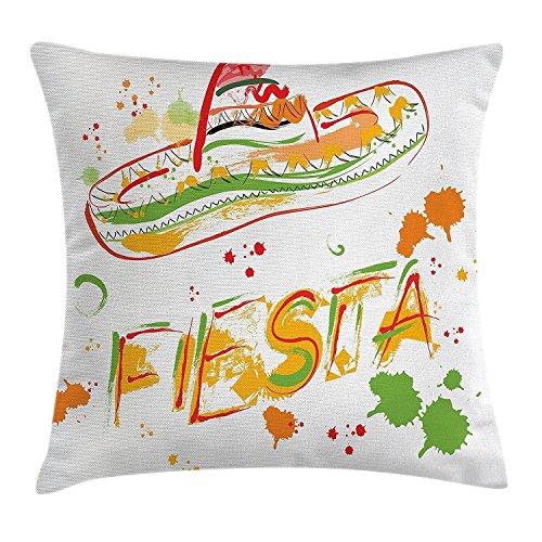 Mexikanische Dekorationen Überwurf Kissen Kissenbezug, Fiesta und Sombrero Stroh hat Motive mit Wasserfarben Spritzern Bild, dekorative quadratisch Accent Kissen Fall, 45,7x 45,7cm, grün orange (Mexikanische Dekorationen)