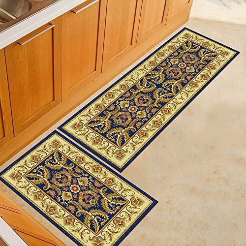 WJSW 2 Stück Rutschfeste Küchenmatte Rückseite Aus Gummi Fußmatte, Europäischer Stil Design Luxus Läufer Teppich Set, 60 * 90 + 60 * 180CM,Two1,50 * 80+50 * 160CM