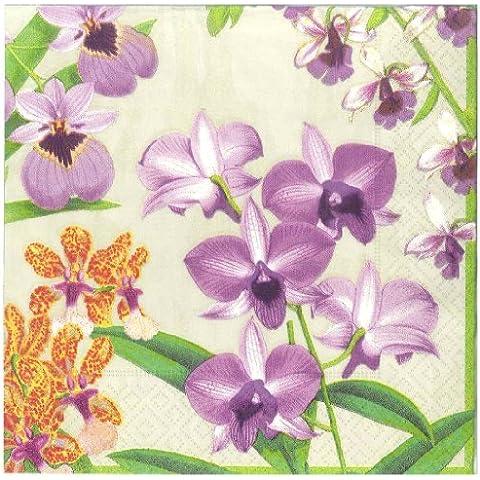 Caspari Entertaining with Caspari - Confezione da 20 tovaglioli di carta decorati con motivo orchidea, colore: Champagne