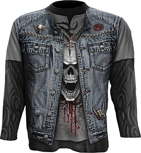Spiral-Pantaloni di metallo-Allover maglietta maniche lunghe Plus size Black XXXXL