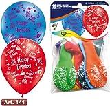 10 Luftballons * Happy Birthday * für Kindergeburtstag oder Party // mit umlaufenden Aufdruck und 90cm Umfang // Luftballon Ballons Deko Motto Kinderparty Herzlichen Glückwunsch