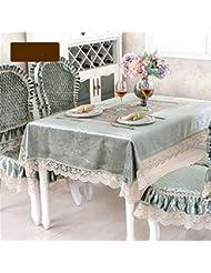 LILSN- mantel bordado mesa redonda de estilo europeo tejido de encaje jardín muela silla manteles de mesa de la bandera tapete de mesa de café ( Tamaño : 130*180cm )